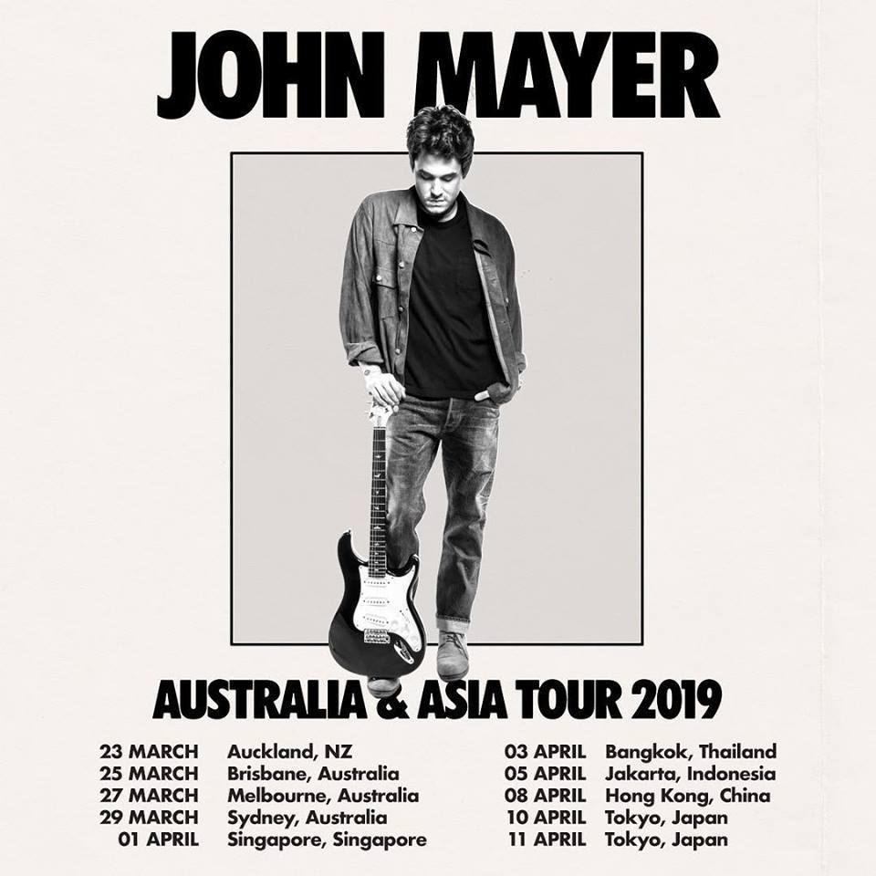 John Mayer to kick off world tour in New Zealand, 2019