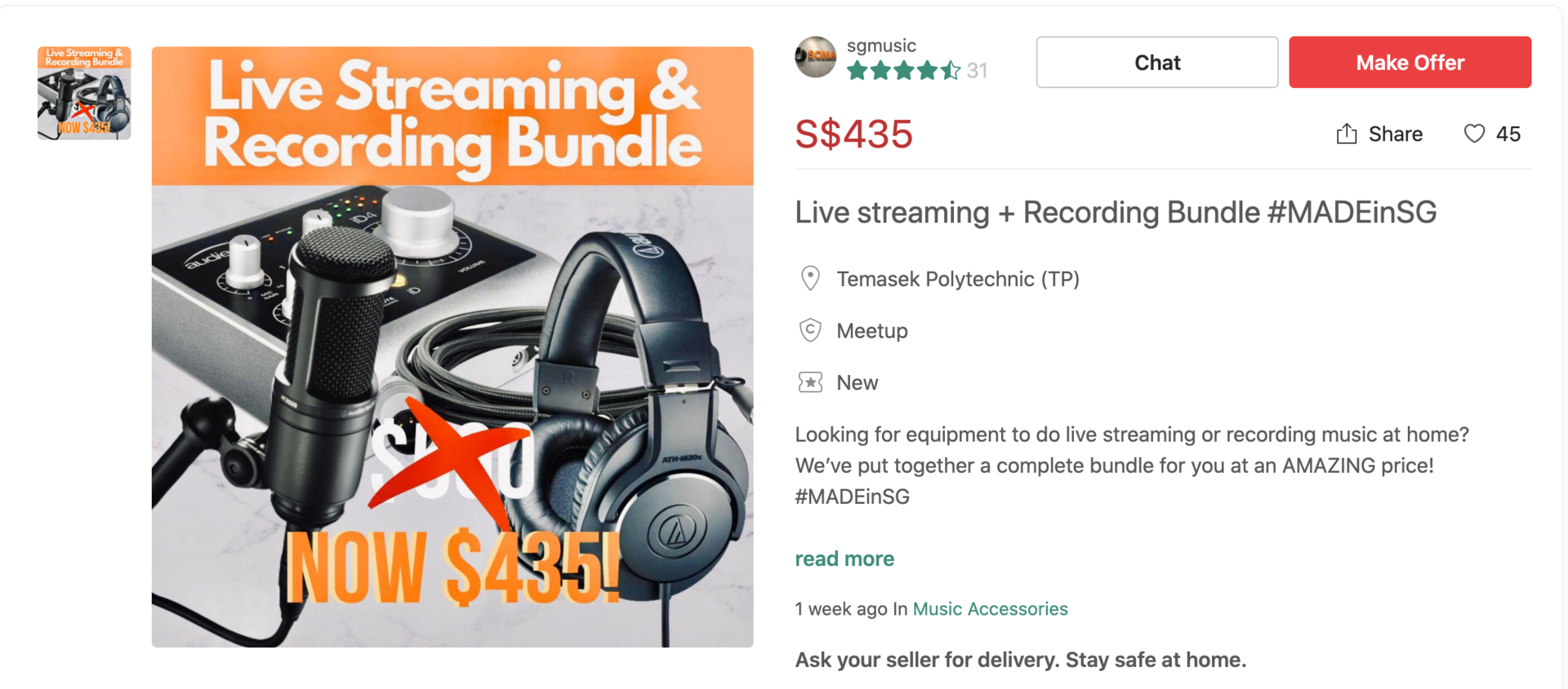 MADE in SG Carousell Livestreaming & Recording bundle