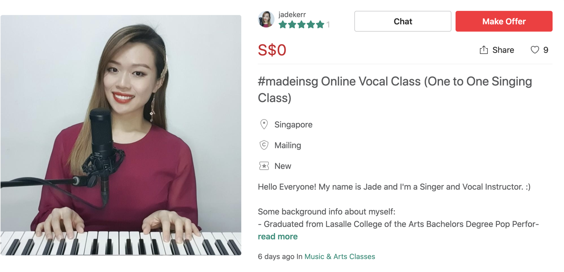 MADE in SG Carousell Jade Vocal Lessons