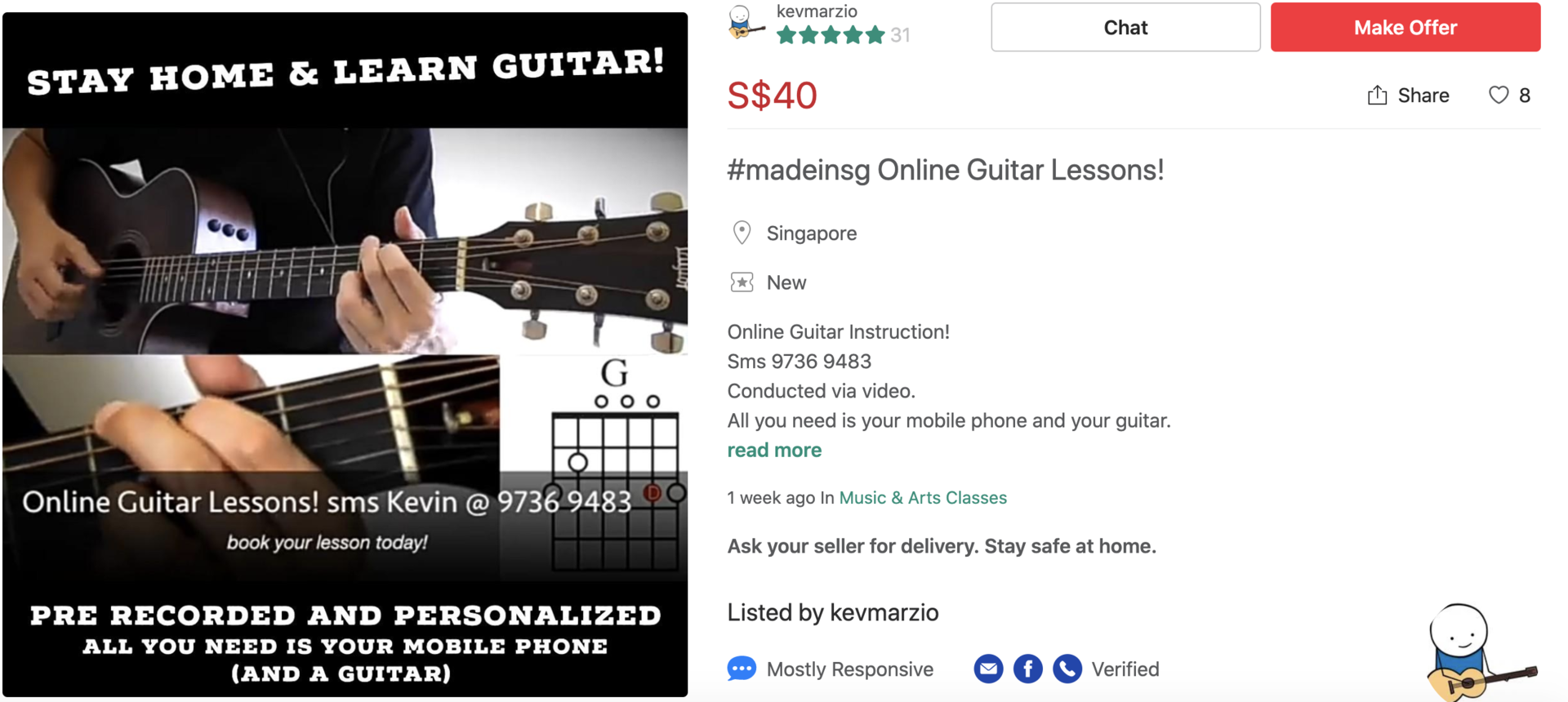 MADE in SG Carousell Guitar lessons
