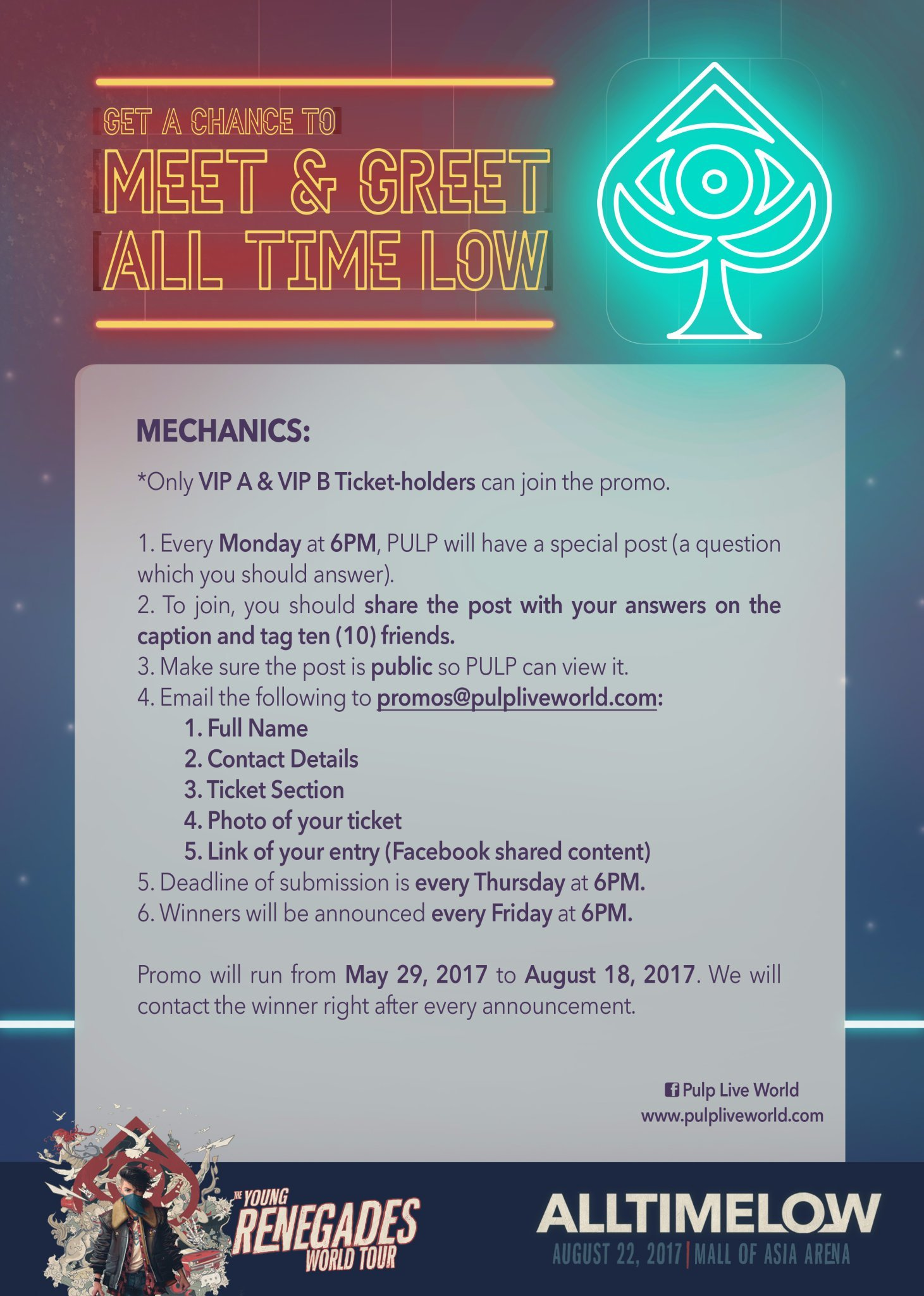 Get a chance to meet and greet all time low in manila contest contest is open to all vip a and vip b ticket holders get tickets here m4hsunfo