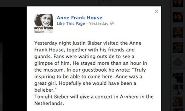 Justin Bieber Anne Frank