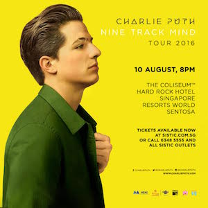 "Don't miss Charlie Puth, the voice behind hit singles ""See You Again"" from Fast & Furious 7, ""Marvin Gaye"" feat. Meghan Trainor and more, live on this one night only concert!"